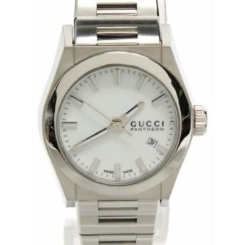 美品 グッチ 腕時計 パンテオン クオーツ ホワイト 115.5 レディース GUCCI 中古