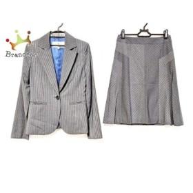 ビアッジョブルー Viaggio Blu スカートスーツ サイズ1 S レディース 美品 グレー×白 新着 20190706