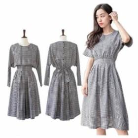 ワンピース レディース 夏 大きいサイズ リボン コットン 韓国 ファッション 体型カバー 長袖