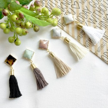square marble tassel /earring/pierce