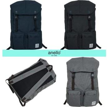 アネロ リュックサック AU-A0531 anello バッグ フラップリュック 2ポケット 後ろファスナー付き 杢調 キャンバス ブラック/ライトグレー/ネイビー