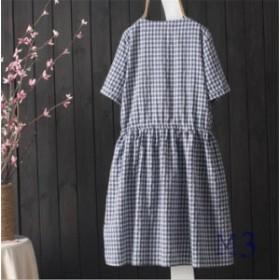 ワンピース ミニワンピース 森ガール 格子縞 半袖 夏 可愛い ドレス 夏 カジュアル 綿麻 ゆったり