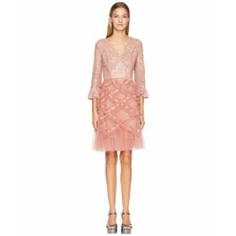 マルケサノット レディース ワンピース トップス 3/4 Sleeve V-Neck Lattice Cocktail Dress Blush Pink