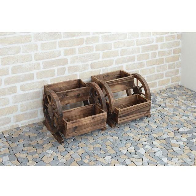 木製プランター花車輪2個組 M680