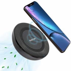 エレコム ワイヤレス 充電器 Qi ( iPhone & Galaxy & Xperia 等 対応 ) 冷却FAN付 5W 7.5W 9W 10W 充電スタンド 置くだけ充電