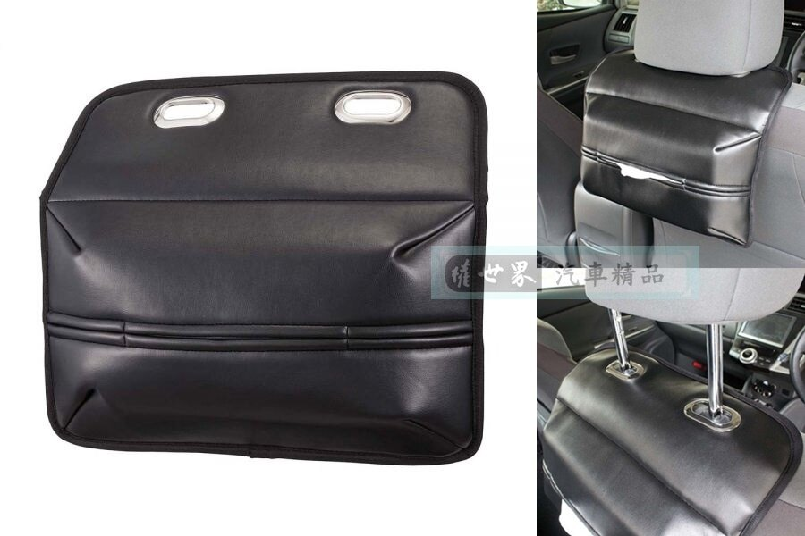 權世界@汽車用品 日本 NAPOLEX 座椅頭枕杆固定式後座專用皮革面紙盒套 (椅背頭枕專用) JK-96