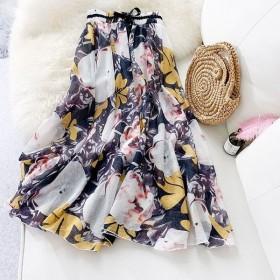 ロングスカート 夏 レディース ボトムス マキシスカート フレア 綿麻スカート 大きいサイズ プリント リネン ウエストゴム 花柄 リボン付き トレロ オシャレ-P790
