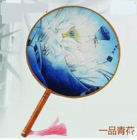 【絲綢團扇宮扇-直徑21CM-1個/組】絲綢團扇宮扇中國風圓扇子古典舞蹈扇-30029