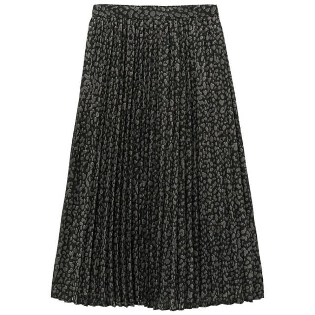 (GU)プリントプリーツスカート(レオパード)NC BLACK L