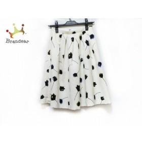 アプワイザーリッシェ スカート サイズ1 S レディース 美品 白×黒×マルチ 花柄 新着 20190706