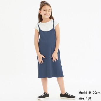 (GU)GIRLSレイヤードリブキャミソールワンピース BLUE 110
