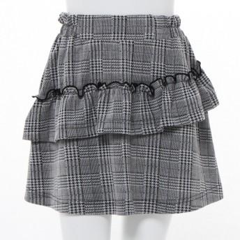 【ティーンズ服】ガールズグレンチェックジャガードスカート