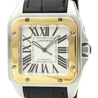 カルティエ  サントス 100 LM K18 ゴールド ステンレススチール レザー 自動巻き メンズ 時計 W20072X7 【中古】