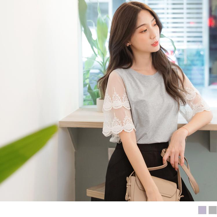 高含棉雙層蕾絲袖純色上衣/T恤