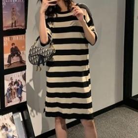ワンピース デイリー 半袖 ボーダ柄 ワンピース マキシ 大きいサイズ 大人カジュアル 結婚式 40代 ファッション 50代