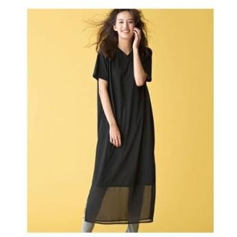 ラナン Ranan 裾切替ロング丈ワンピース (ブラック)