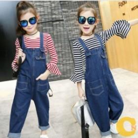 オーバーオール 子供服 女の子  デニム 韓国子供服 キッズ ジュニア デニムサロペット ゆったり 可愛い 120 130 140 150 160