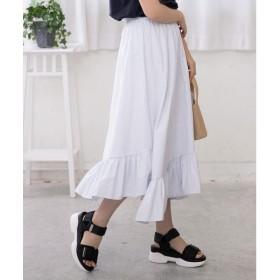 コウベレタス KOBE LETTUCE 裾切替えスカート [M2521] (ブルー×オフ)