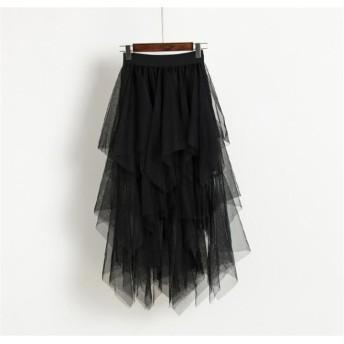 個性的なデザイン 春 気質 イレギュラー チュール 縫付 スカート ハイウエスト スカート スーパーフェアリー ロングスカート ファッション カジュアル エレガント 百掛け カレッジ風 潮