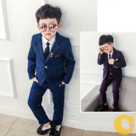 スーツ キッズ セットアップスーツ  パンツスーツ フォーマル スーツ 男の子 2色 パープル ブルー チェック柄 結婚式 送料無料