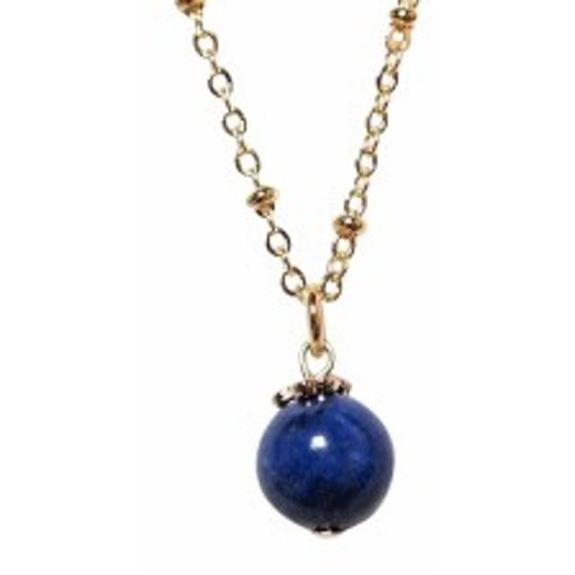 高品質ラピスラズリのシンプル一粒ネックレス2 幸運 紺 まる  幸せ 瑠璃 あお ウルトラマリンブルー  青 ブルー ネイビー