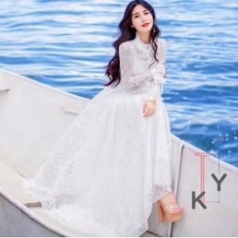 結婚式 ドレス マキシ丈 リゾートワンピース お呼ばれ 服 体型カバー カジュアル ロング丈 旅行 海デート リゾート 二次会