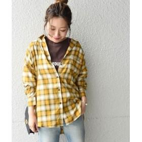 シップス Khaju:チェックオーバーサイズシャツ レディース イエロー系 ONESIZE 【SHIPS】