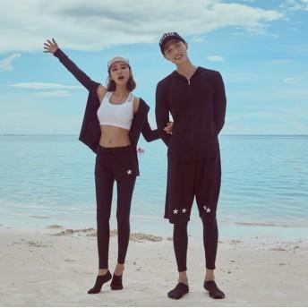 新品 2019ペアルック 水着レディース水着 長袖 ラッシュガードスポーツ水着フィットネス韓国 ファッション水着セット ショートパンツ 男女旅行