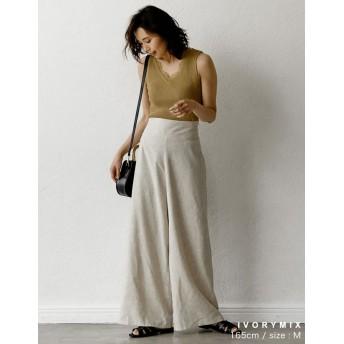 パンツ・ズボン全般 - Re: EDIT ウエストすっきり。くびれメイクな美ラインパンツ リネンブレンドハイウエストワイドパンツ ボトムス/パンツ/ワイドパンツ・ガウチョパンツ