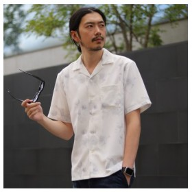 (Men's Bigi/メンズビギ)フラワープリントオープンカラーシャツ/メンズ ホワイト 送料無料
