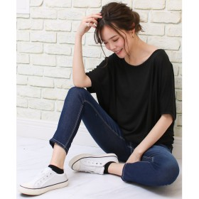 ソーシャルガール Social GIRL ゆるリラックス ワイドスリーブドルマンTシャツ (puブラック)