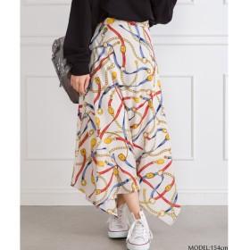 SpRay スカーフ柄イレギュラーヘムスカート M レディース 5,000円(税抜)以上購入で送料無料 ひざ丈スカート 夏 レディースファッション アパレル 通販 大きいサイズ コーデ 安い おしゃれ お洒落 20代 30代 40代 50代 女性 スカート