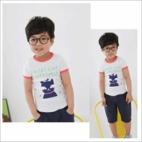 【New】スマイルキャットプリント半袖Tシャツ【95cm~140cm】かわいい韓国からの子供服
