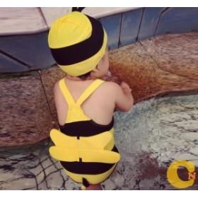 水着 女の子 ワンピース  キッズ 子供用 ワンピース  スイムウェア 女児 スイミング 可愛 ハチ