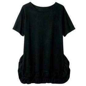 ラナン Ranan フリル使いTシャツ (ブラック)