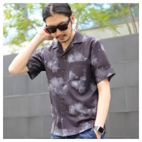 (Men's Bigi/メンズビギ)フラワープリントオープンカラーシャツ/メンズ ブラック 送料無料