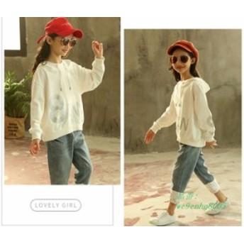子供服 フード付きスウェット デニムパンツ 長袖 秋 女の子 子ども 女児 着心地良い ファッション カジュアル 上下セット