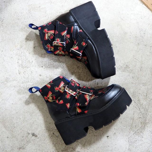 ヨースケ YOSUKE 厚底ブーツ (ブラックブルー)