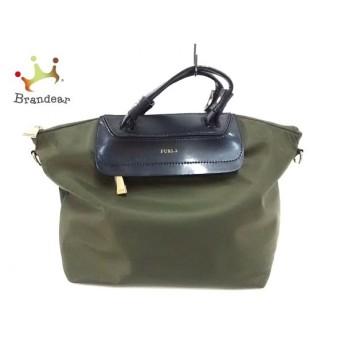 フルラ FURLA ハンドバッグ カーキ×黒 ナイロン×レザー                       スペシャル特価 20200128
