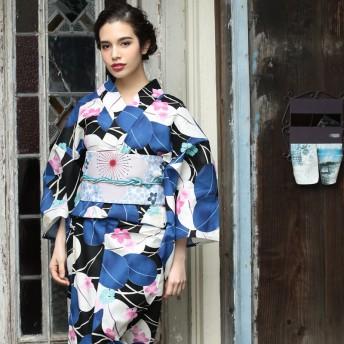浴衣・着物の帯 - ホンコンマダム 浴衣 レディース 帯 袋帯 水色 桜 リバーシブル オリジナル袋帯 (d6153) (帯単品)