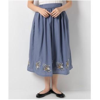 ehka sopo 裾刺繍スカート(ブルー)【返品不可商品】