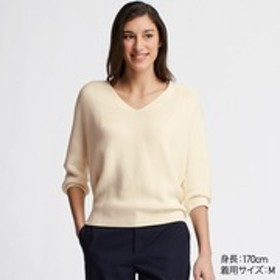 3DコットンコクーンVネックセーター(7分袖)
