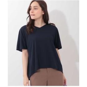 OFUON Vネックデザインカットソー Tシャツ・カットソー,ネイビー