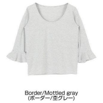 ティティベイト titivate フレアスリーブTシャツ (ボーダー/杢グレー)
