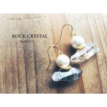 170-63ロッククリスタル原石ピアス天然石 イヤリングor樹脂ピアスOK送料無料