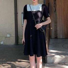 ワンピース デイリー 半袖 無地 配色 ワンピース マキシ 大きいサイズ 大人カジュアル 結婚式 40代 ファッション 50代