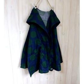 ビックドット 水玉 ネイビー×グリーン ふわりダブルガーゼ ビックパーカー 羽織