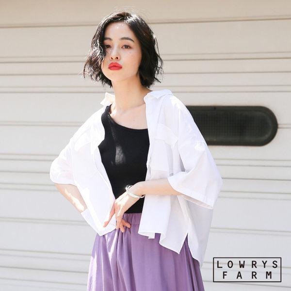 LOWRYS FARM素色棉麻短版短袖襯衫上衣-三色