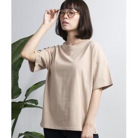 WEGO WEGO/USAコットンUネックTシャツ(ベージュ)【返品不可商品】