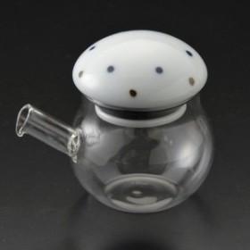 醤油さし 液だれしない さび点々 青・丸 ガラスのボディ 陶器(波佐見焼)の注ぎ口 クリアポット